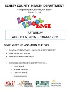 Schley Health Department Back to School Bash flyer 2016